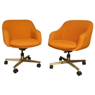 Orange Mid-Century Swivel Bucket Chairs - A Pair