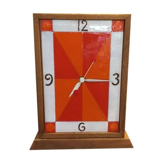 Vintage Modern Enamel on Copper Clock