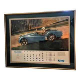 Triumph Tr-2 1975 Vintage Calendar Framed & Matted Poster