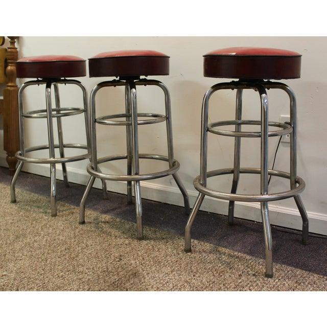 Mid Century Modern Swivel Bar Stools -- Set of 3 - Image 3 of 11