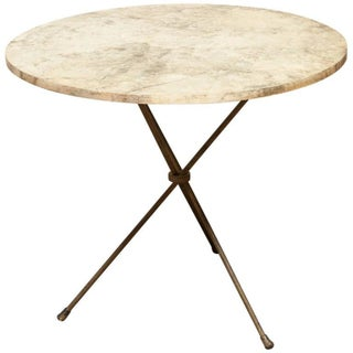 French Mid-Century Faux Marble Tripod Drink Table