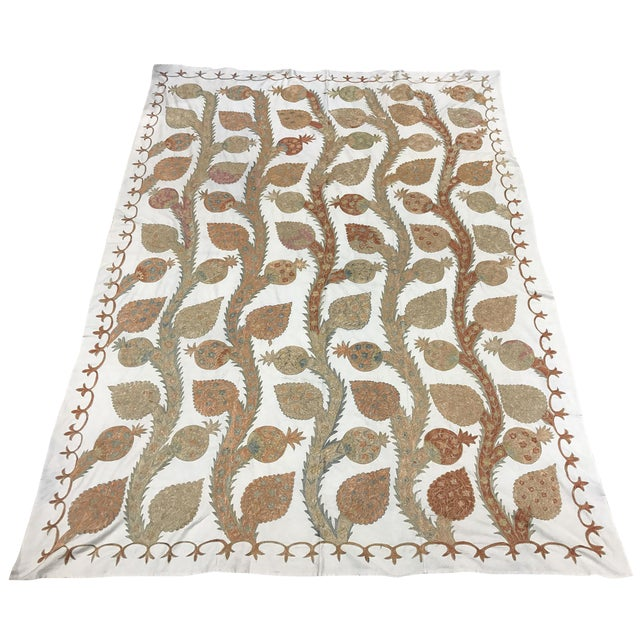 Silk Suzani Pastel Bedspread - Image 1 of 4