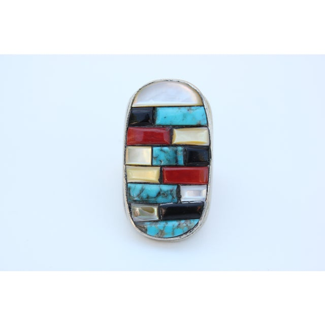 Image of Zuni Corn Row Mosaic Ring