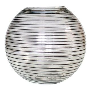 Large Vintage Modernist Glass Bowl With Black Swirls