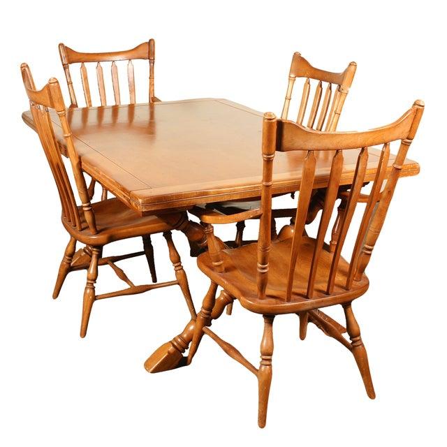Cushman Farm Style Trestle Dining Set - Set of 5 - Image 1 of 7