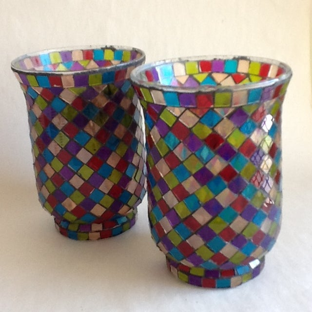Moroccan Mosaic Glass Candle Votives - A Pair - Image 5 of 8