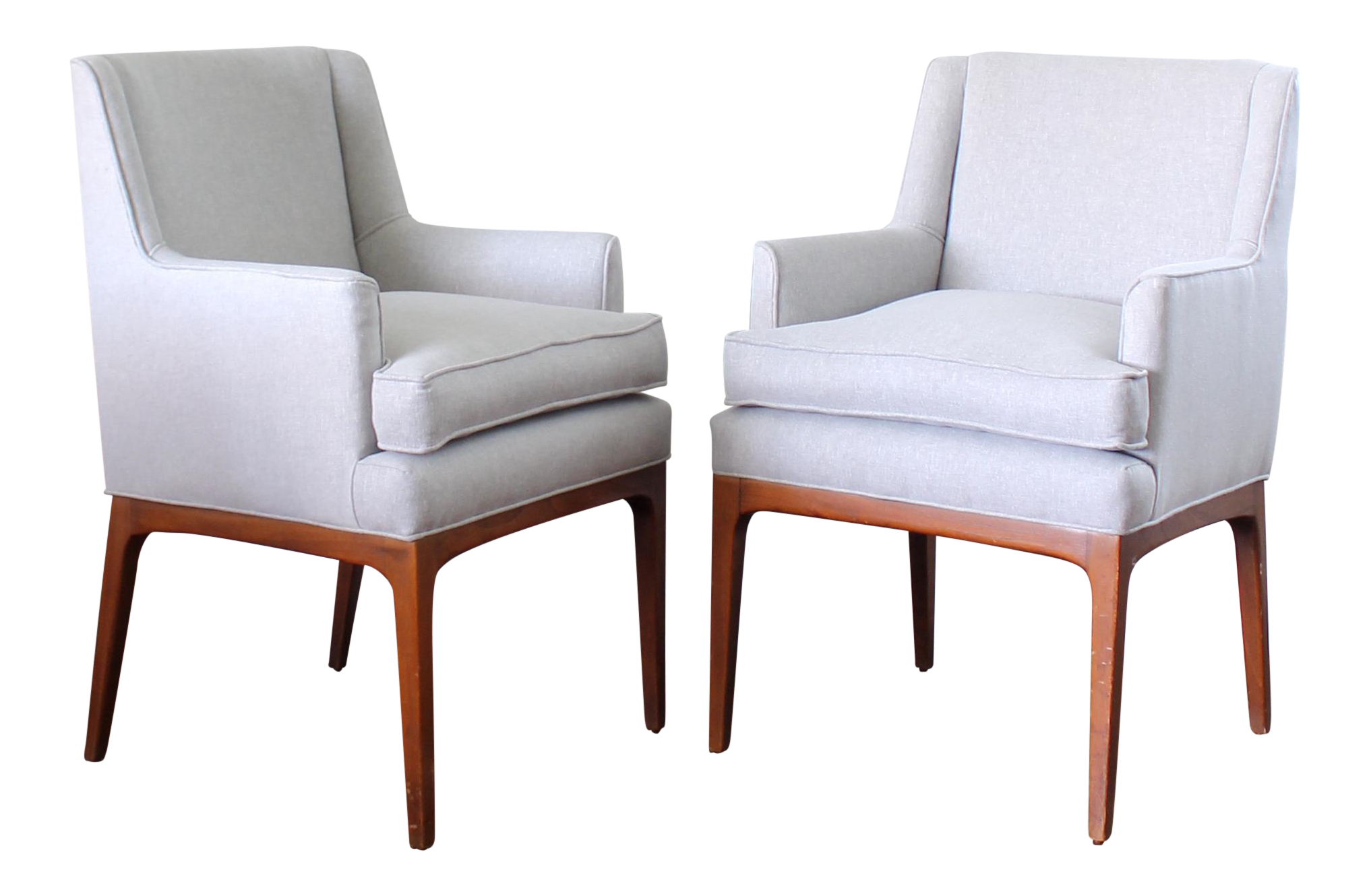 mid century modern upholstered chairs a pair
