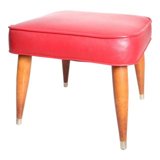 Mid Century Modern Red Vinyl Foot Stool