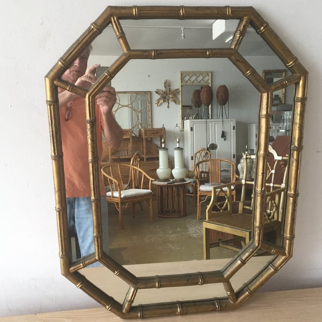 Hollywood Regency Faux Bamboo Octagon Mirror - Image 2 of 5