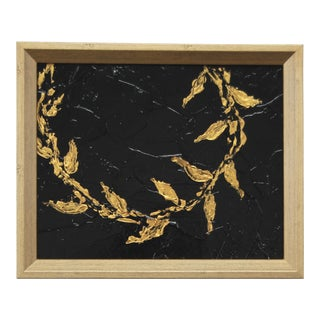 Metallic Gold & Black Abstract Leaf & Vine Painting by C. Plowden