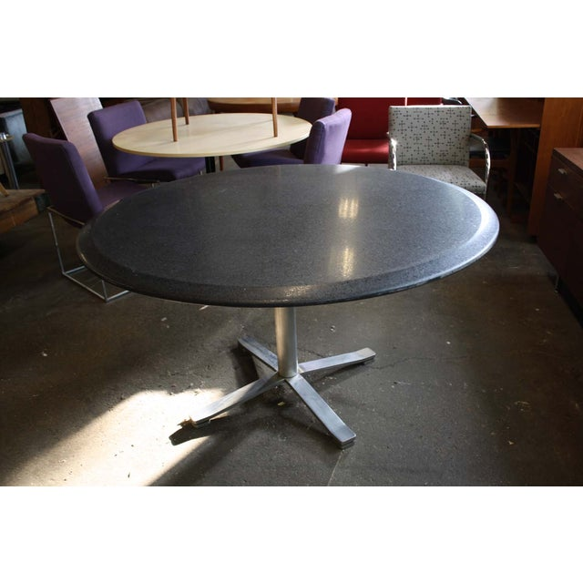 Zographos Beveled Marble Top Table With Steel Base - Image 3 of 6