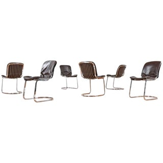 Cidue Chrome and Leather Dining Chairs - Set of 6