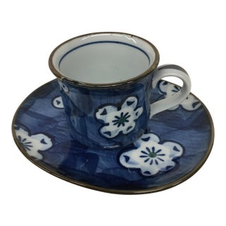 Vintage Japanese Blue Floral Cup and Saucer
