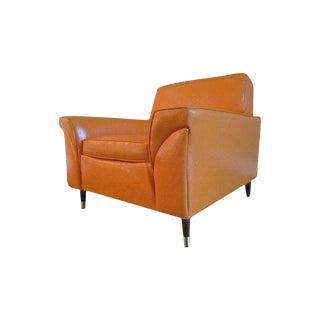 1975 Mid-Century Modern Orange Vinyl Club Chair