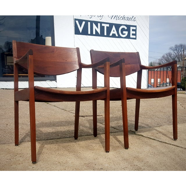 Mid-Century Walnut Gunlocke Chairs - Pair - Image 2 of 11
