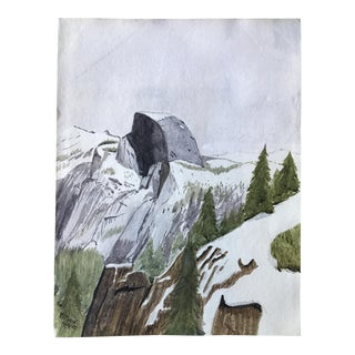 1928 Yosemite Half Dome Watercolor Painting