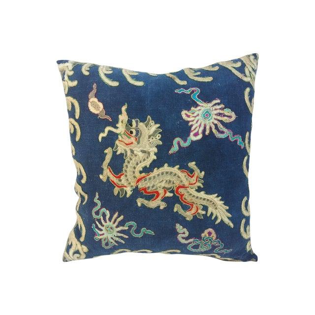 Image of Hand-Embroidered Indigo Dragon Pillow