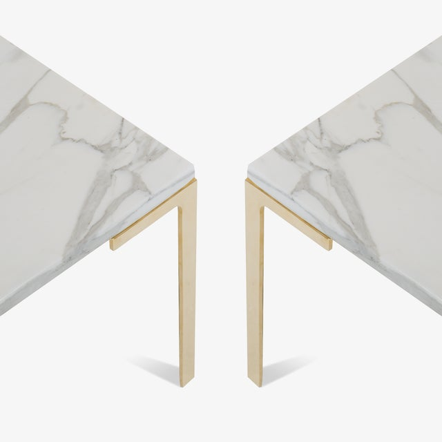 Astor Brass Occasional Tables in Carrara Marble by Montage, Pair - Image 3 of 4