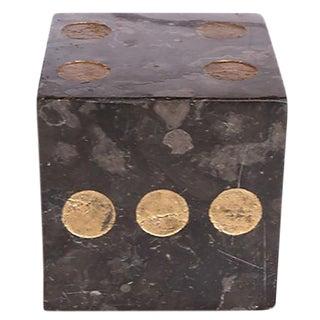 Vintage Black Marble Dice Paperweight