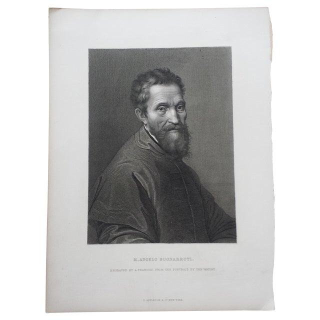 Antique 1875 Michelangelo Self Portrait Engraving - Image 1 of 4