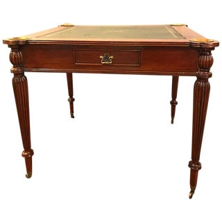 Leather Top Mahogany Georgian Style Card Table in the Manner of Maitland Smith