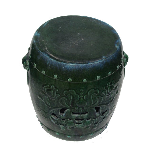 Chinese Green Round Lotus Clay Garden Stool - Image 3 of 4