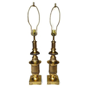 Hollywood Regency Greek Key Pedestal Lamps - Pair