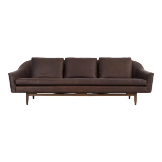 Jens Risom Brown Leather Sofa