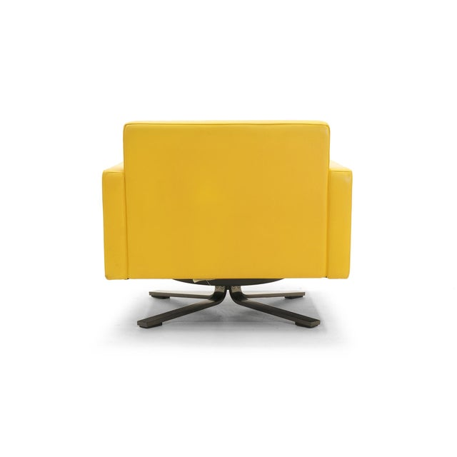 Poltrona Frau Yellow Leather Memory Swivel Lounge Chair - Image 5 of 11