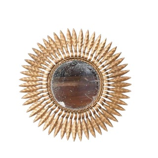 Early 20th Century French Gold Metal Starburst Mirror