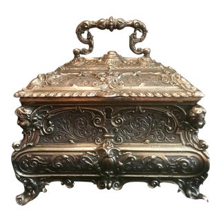 19th Century Italian Solid Silver Gilt Jewelry Casket
