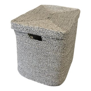 Silver Gray Woven Oversize Basket