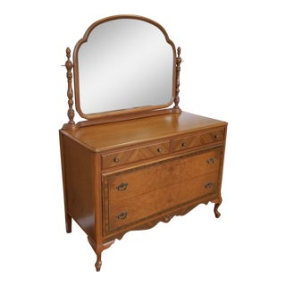 1930s Post Art-Deco Walnut Bedroom 4 Drawer Dresser with Swivel Mirror