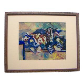 Framed Modern Cubist Painting