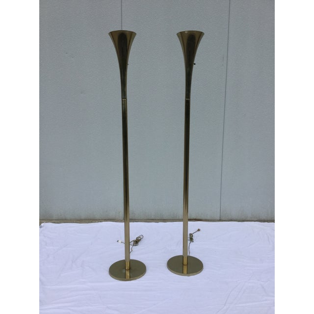 Laurel Brass Torchiere Floor Lamps - A Pair - Image 2 of 10