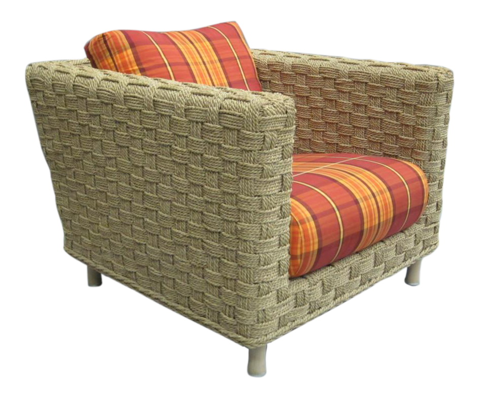 Pair French Woven Rope Lounge Chairs Attributed Audoux Minet For Ligne Roset    Image 1