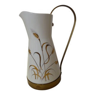 Mid-Century Brass & Golden Wheat Pitcher