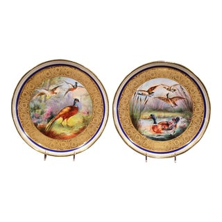 19th Century French Hand-Painted Porcelain Plates with Duck and Peacock - a Pair