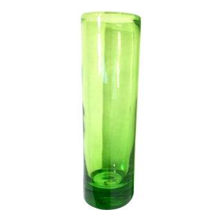 Vintage Handblown Green Glass Vase