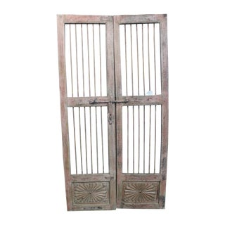 Pair of Reclaimed Architectural Antique Wrought Iron Salvage Doors