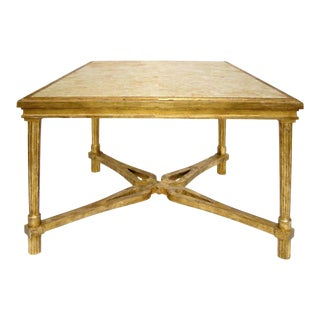 CARVED ITALIAN GILT-WOOD SIDE TABLE WITH MARBLE TOP BY RANDY ESADA DESIGNS
