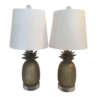 Gold Pineapple Table Lamps - A Pair