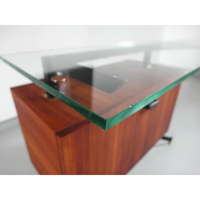 Italian Modernist Dry Bar with Thick Floating Glass Top and Brass Details - Image 8 of 10