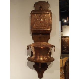 Antique French Copper Lavabo with Original Wood Mount, Circa 1850