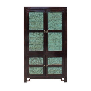 Chinese Distressed Turquoise & Brown Armoire