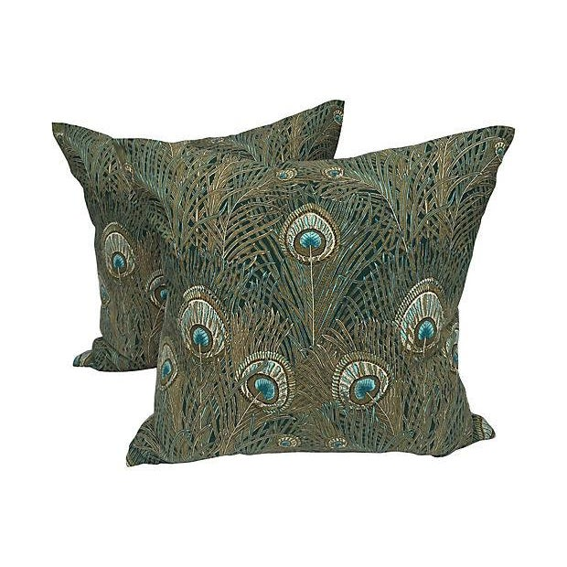 Liberty of London Peacock Pillows - Pair - Image 1 of 6