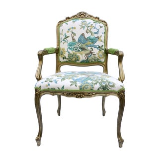 Gold Leaf Victorian Turquoise Peacock Arm Chair