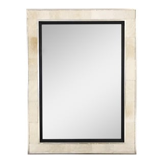 Ivory Cowhide & Silver Finished Frame Beveled Mirror
