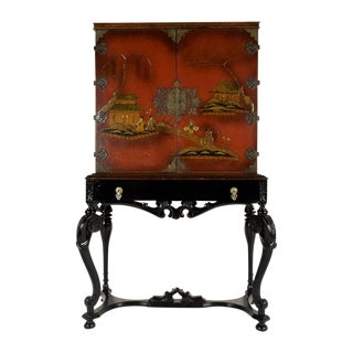 Mid-Century Chinoiserie-Style Dry Bar Cabinet