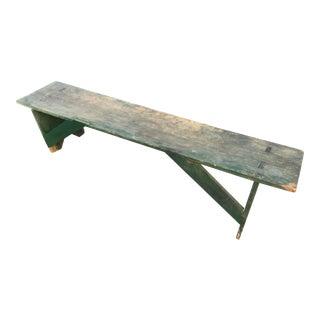 Antique Primitive Green Pine Bench